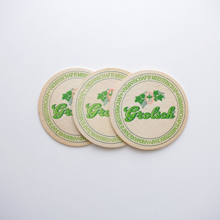 Vintage Grolsch Beer Coasters - Set of 3 - Vintage Beer Advertising, Vintage Bar by ThisCharmingManCave on Etsy  https://www.etsy.com/listing/217839745/vintage-grolsch-beer-coasters-set-of-3