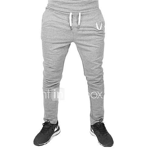 Hombre Casual Activo Media cintura Microelástico Ajustado Pantalones Harén Activo Pantalones de Deporte Pantalones,Un Color Primavera, 2018 - $9.19