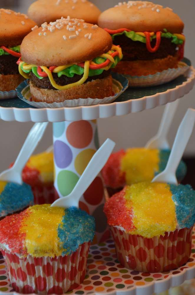Hamburger and snow cone cupcakes at a circus birthday party! See more party planning ideas at CatchMyParty.com!