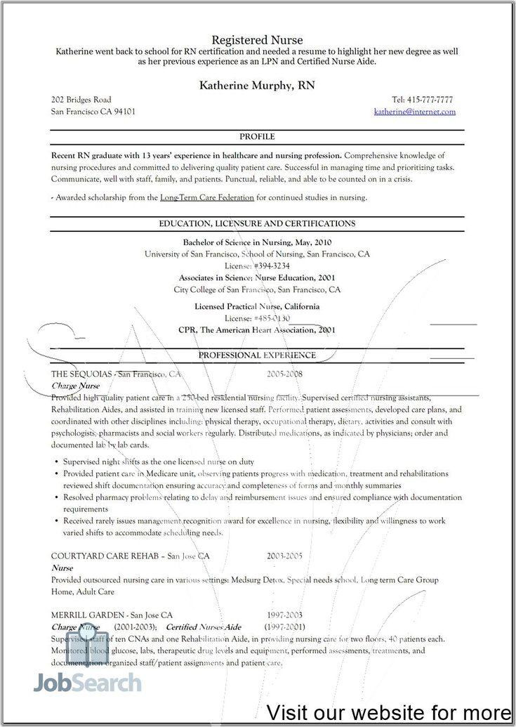 sample resume registered nurse entry level 2020 in 2020