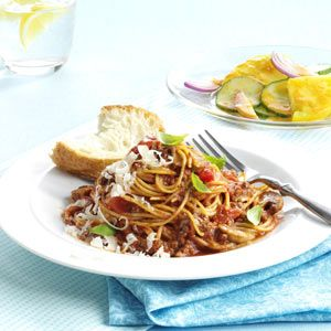 One-Pot Spaghetti Dinner Recipe -Mamma mia! What's your secret? A homemade sauce and a one-pot cooking method are the makings of a new family favorite. —Carol Benzel-Schmidt, Stanwood, Washington