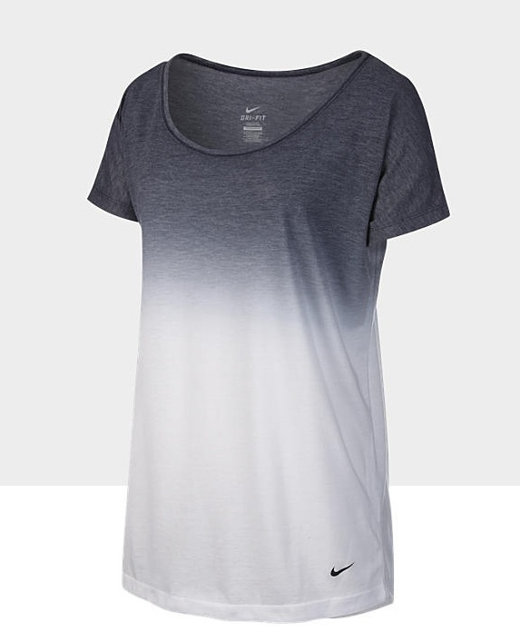 Forget working out. Totally'd wear this anywhere, with a boyfriend cardigan, colored jeans or shorts, etc. Nike Dri-Fit dip dye tee.