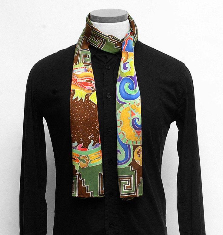 Mens Silk scarf, Aztec serpent, Handpainted scarf, Batik mens scarf, Tribal scarf, Luxury Scarves, Unique scarf, Hand painted silk scarf by SilkScarvesDreamLuxe on Etsy