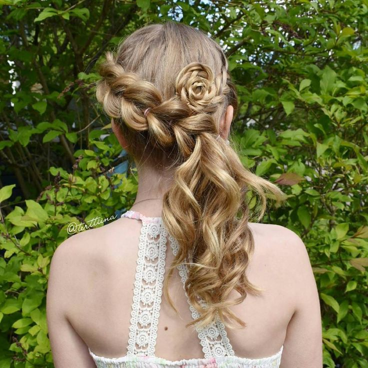 """Hair  by Terhi A (@terttiina) Instagram: """"Diagonal pull through braid into a curly ponytail and braided flower"""