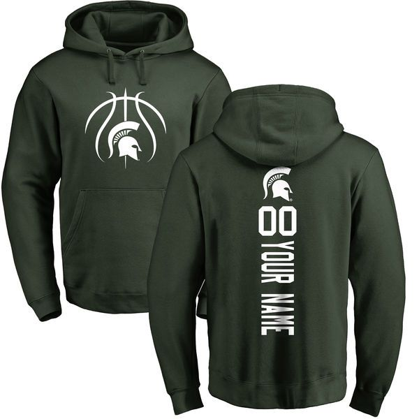 Michigan State Spartans Basketball Personalized Backer Pullover Hoodie - Green - $69.99