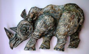 Papier Mache Rhino, by Joy A. Kirkwood