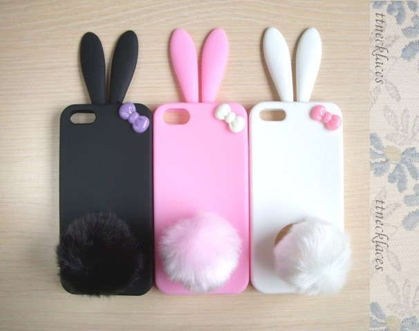 Cute Bunny with Bow Soft Silicone Iphone 5 Case Skin- 3 color to choose--Pink, black, white. $12.00, via Etsy.