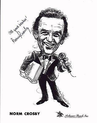 NORM CROSBY VEGAS COMEDIAN AUTOGRAPH SIGNED CARTOON