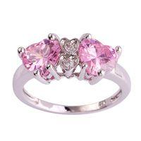 Lingmei Оптовая Сердце Cut Розовый и Белый Топаз Серебряное Кольцо Размер 7 8 9 10 Моды Популярные Стиль Любовь Женщины Подарок Бесплатно доставка