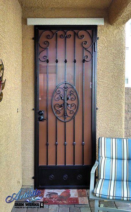 Decorative wrought iron security door wrought iron for Wrought iron security doors