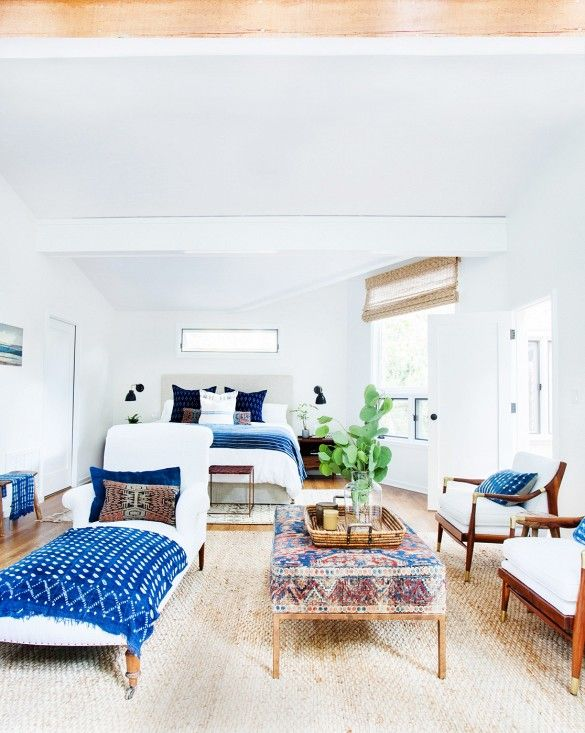 Blue and white bedroom // Master bedroom in a California eclectic home.