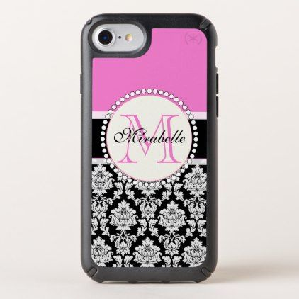 Girly Hot Pink and black white Damask Monogrammed Speck iPhone Case - girly gift gifts ideas cyo diy special unique