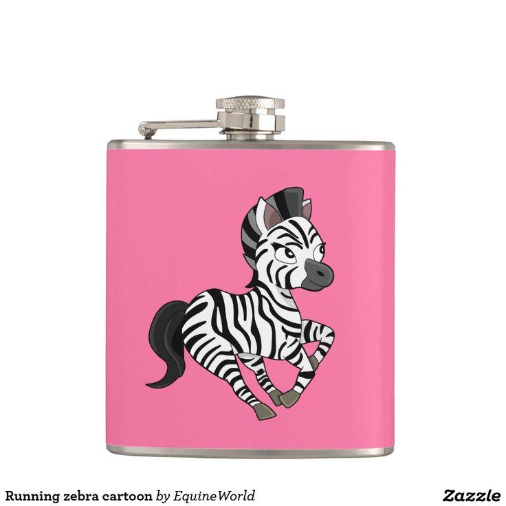 Running zebra cartoon hip flasks