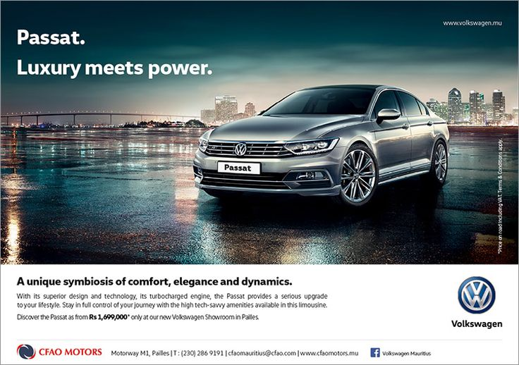 CFAO Motors - Discover the Volkswagen Passat as from Rs 1,699,000 only at the new Volkswagen showroom in Pailles. Tel: 286 9191