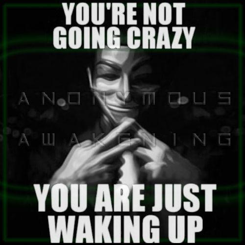 You're not going crazy.  You are just waking up.  anonymous awakening.