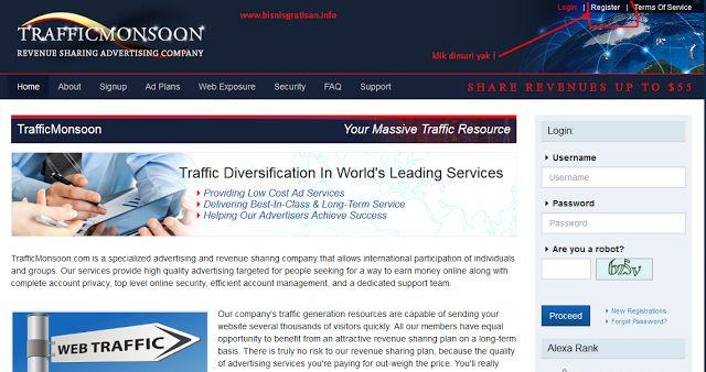 CARA DAFTAR TRAFFIC MONSOON LENGKAP DENGAN GAMBAR | Bisnis Gratisan