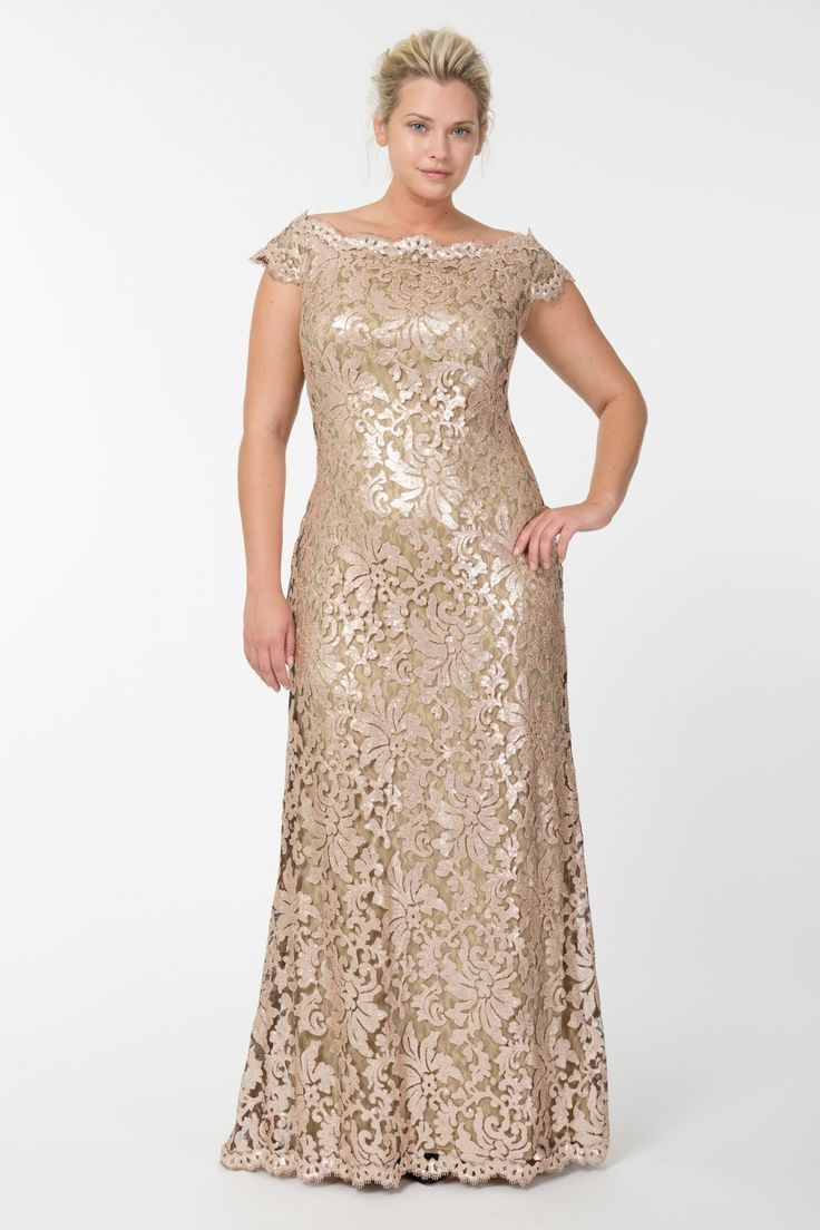 Paillette Embroidered Lace Off Shoulder Gown in Ginseng - Shop | Tadashi Shoji