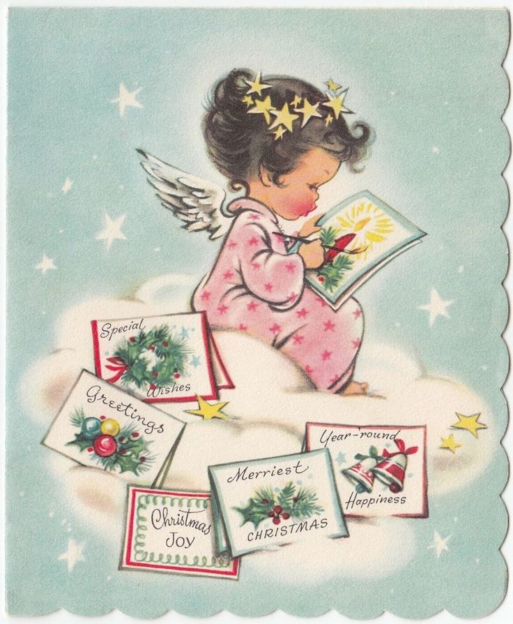 Vintage Greeting Card Christmas Angel on Cloud Painting Drawing Cards r448