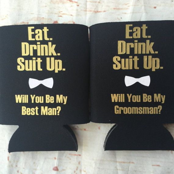 Eat. Drink. Suit up. These groomsman can coolers are just right for asking your best guys to stand by you on your big day! These coolers will be an awesome keepsake! The proposal went great and youve got your girl, now you need your groomsmen! Would you like two sides? Sure! Visit this option for two sided coolers- https://www.etsy.com/listing/280488384/bachelorette-can-coolers-bachelorette Shipping time is one week from order date. How to order: Choose can cooler c...