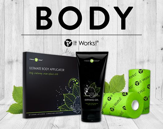 Our BODY line includes our signature It Works! Wrap, Defining Gel, and Fab Wrap! Wrap your way to Ultimate Results with our complete Body line! www.myitworks.com