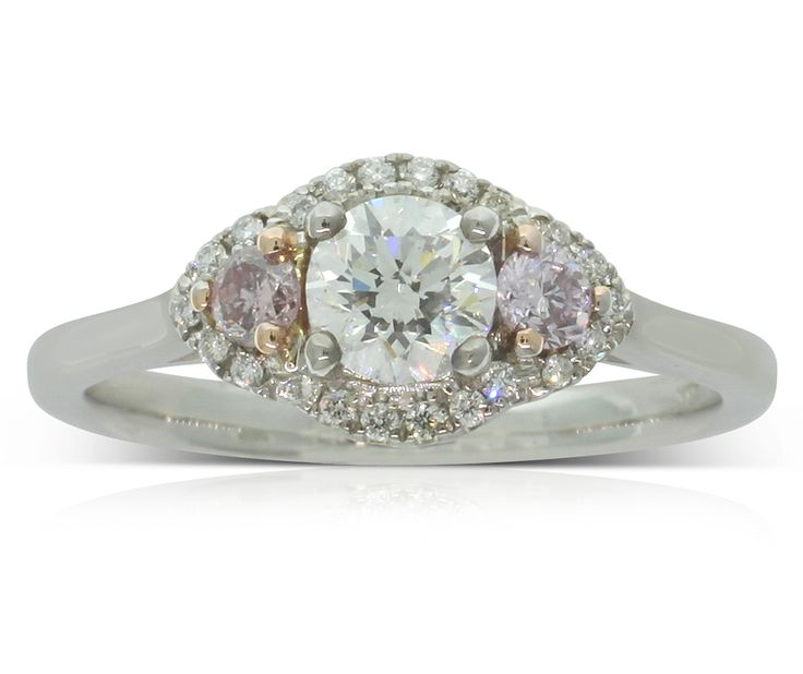 18ct white gold .50ct pink diamond trilogy ring, a perfect engagement or beautiful dress ring.