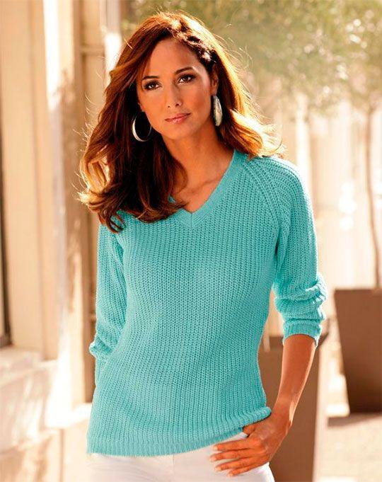 пуловер женский 2016, вязаный пуловер спицами фото