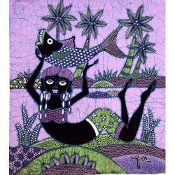 Batik Fabric Panel by Jaka, Woman with Fish on Purple