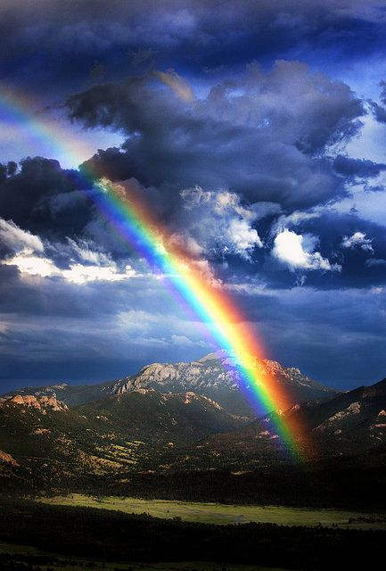 Rainbow over Rocky Mountain National Park, Colorado