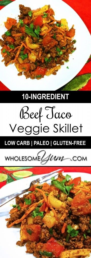 Beef Taco Skillet Recipe with Veggies (Paleo, Low Carb) - This easy low carb, paleo taco skillet recipe infuses a medley of ground beef and vegetables with the rich flavors of garlic and taco seasoning.
