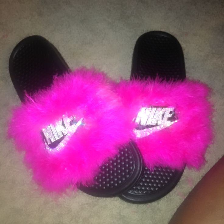 Fuchsia pink Nike Slides with fur and bling