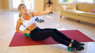 10-Minute Core Video Sarah Kusch The exercises require the use of a deflated soft playground ball to give you back support.