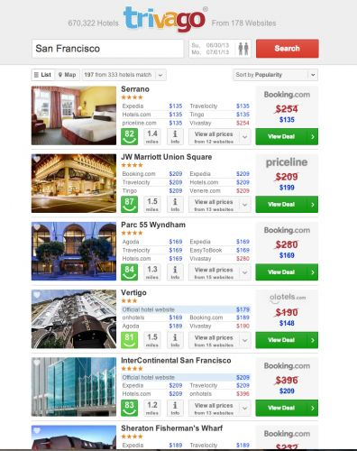 SITE REVIEW: Trivago    Maybe the most efficient hotel search engine out there. Find the best room rates on multiple booking sites at one time...on one screen.