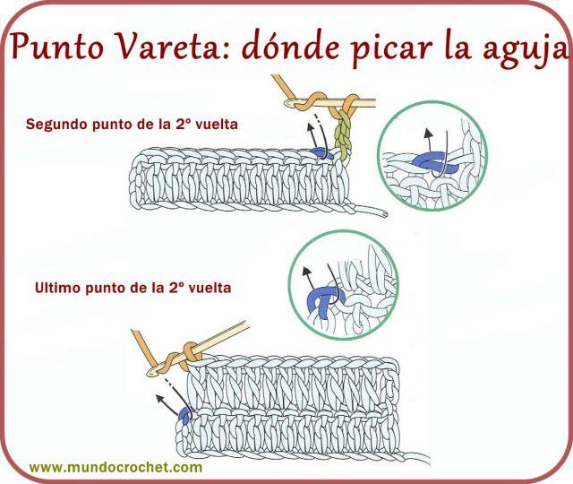 Punto vareta, punto alto - Double crochet - вязание крючком пунктов                                                                                                                                                                                 Más