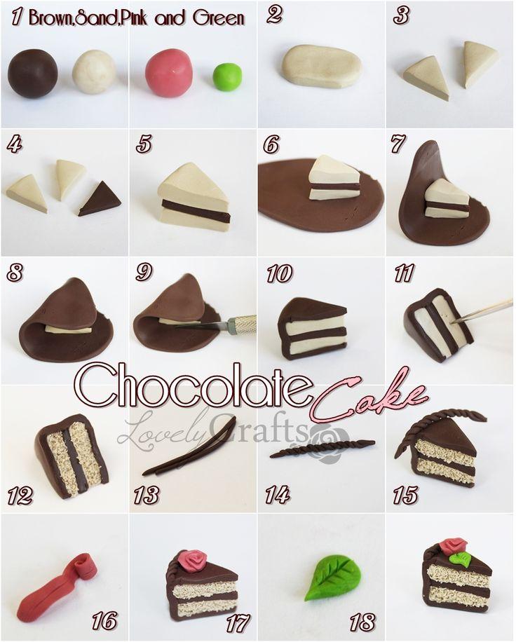 Porción de torta de chocolate .