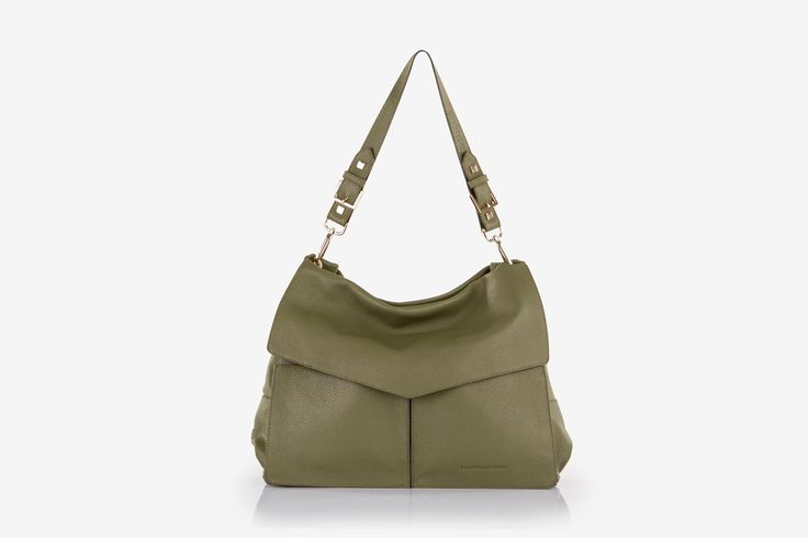 Minerva in olive green pebbled calf leather - Front view.