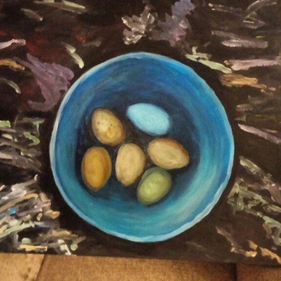Heritage hen eggs #eggs #acrylic #blue #heritagehens