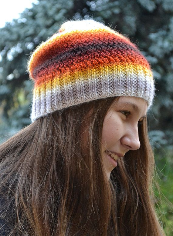 Knitted multicolor acrylic beani cap hat by DosiakStyle on Etsy #ombre #knit #hat