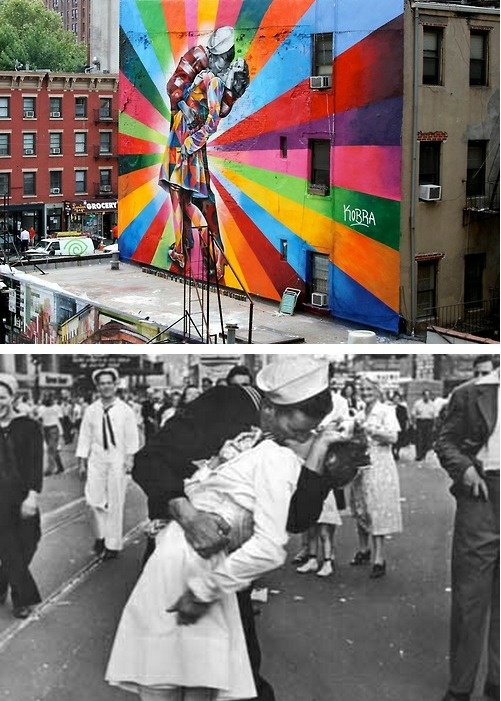 """The Kiss"" immortalized in paint... Eduardo Kobra's mural of Alfred Eisenstaedt's photo, V-J Day in Times Square. – Chelsea, NYC, USA."