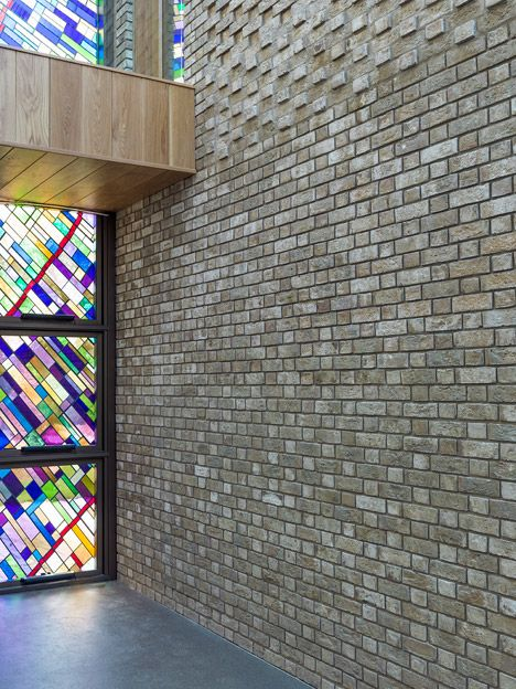 Textured brick was used for the internal and external surfaces of this monastery in Liverpool.