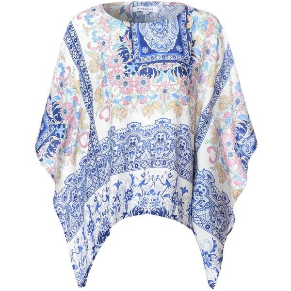 Blue And White Mosiac Print Batwing T Shirt ($31) ❤ liked on Polyvore featuring tops, t-shirts, multi, oversized t shirts, slouchy t shirt, oversized tee, blue and white top and print t shirts