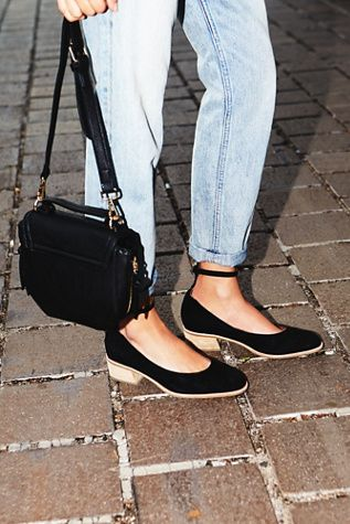 The perfect everyday low heel shoe to take you from the  office to drinks with friends // Boulevard Block Flat | These super sweet suede slip-on flats feature a subtly square toe and an adjustable ankle strap with a stacked heel.  Padded footbed for a more comfortable fit.