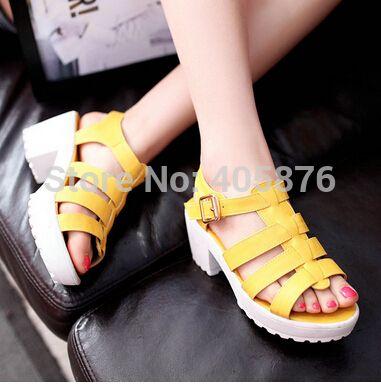 Pas cher Rétro mode femme talon carré sandales 2014 été femme plateforme Kogan spartiates, Acheter  Sandales de qualité directement des fournisseurs de Chine:                  Femmes de taille table de conversion                          Pied longueur                   Pouces