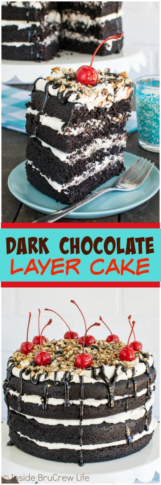 Dark Chocolate Layer Cake - 4 layers of cake and frosting topped with ...