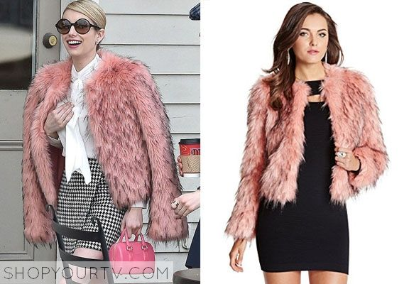 Chanel Oberlin (Emma Roberts) will be wearing this pink faux fur coat in an upcoming episode of Scream Queens.