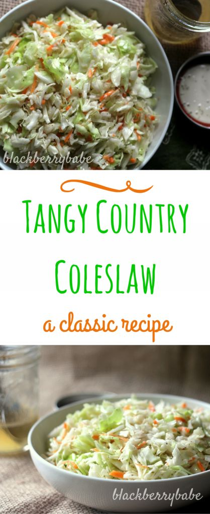 Classic Country Coleslaw- A tangy and sweet coleslaw recipe, no mayo! blackberrybabe.com