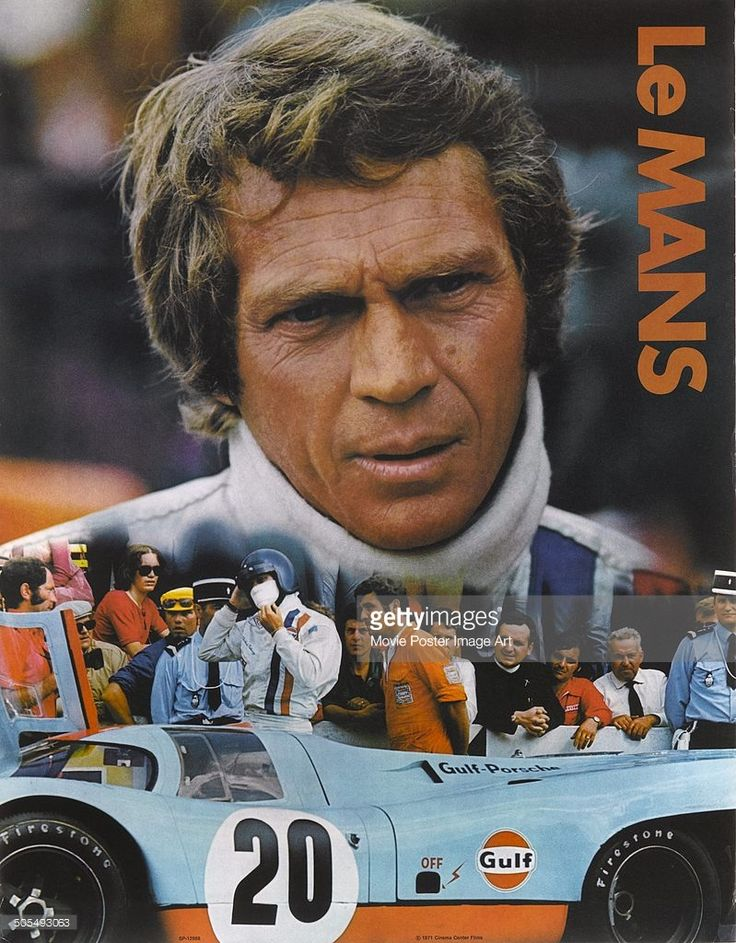 Actor Steve McQueen appears on a poster for the racing movie 'Le Mans', aka 'The 24 Hours of Le Mans', 1971.