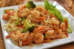 French Shrimp & Celery Salad   16-20 big prawns, peeled shrimp just quit. 3 stalks, chopped in small pieces just to eat.30 g bell peppers. mayonnaise. 7, 5 ml rice vinegar. 2, 5 g of mustard. Salt and pepper.  Blanch celery in boiling water 2min, then chill. Cool, & chop Shrimp. Mix mayonnaise, mustard and rice vinegar. Add shrimp, celery, bell pepper. Chill.