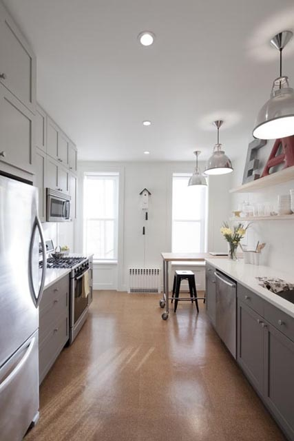 Brooklyn kitchen reno - grey cabinets, pendant lighting.  I like the cork floors too, but that's not happening for us.