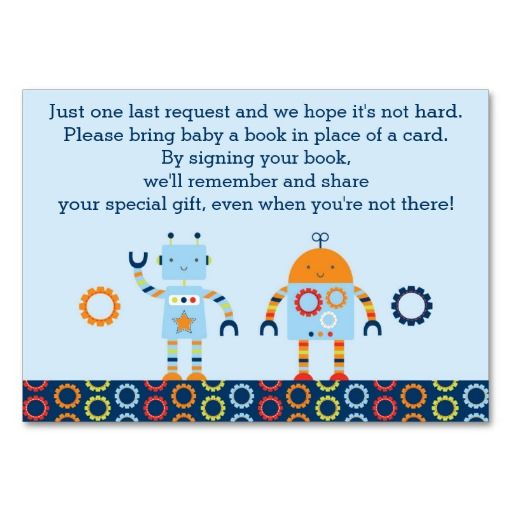 Baby Bots Robot Baby Shower Book Request Cards