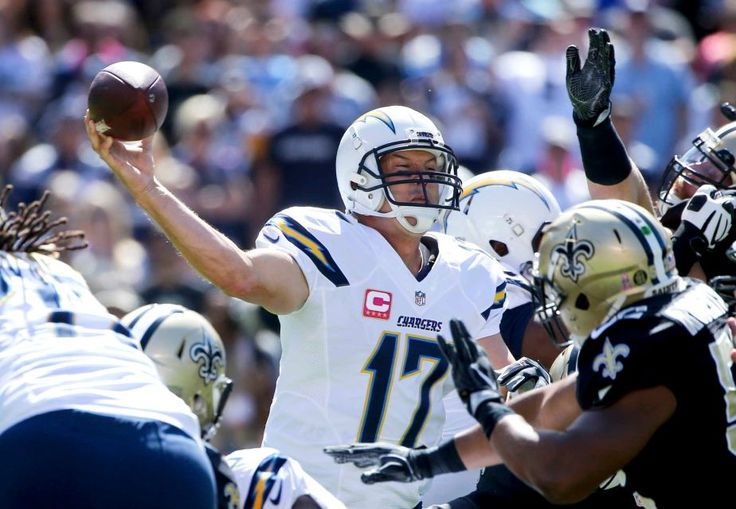 Saints vs. Chargers Updated October 2, 2016  -  35-34:     San Diego Chargers quarterback Philip Rivers throws a pass during the first half of an NFL football game against the New Orleans Saints Sunday, Oct. 2, 2016, in San Diego.